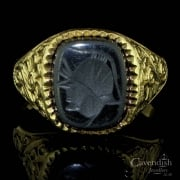 9ct Gold And Haematite Intaglio Ring