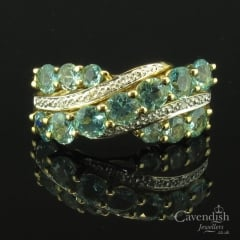 9ct Gold Apatite & Diamond Wave Ring