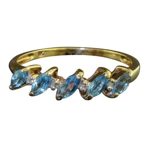 9ct Gold Blue Topaz And Diamond Five Stone Ring