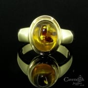 9ct Gold & Cabochon Amber Single Stone Ring