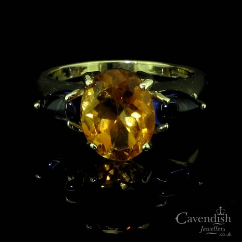 9ct Gold Citrine And Amethyst 3 Stone Ring