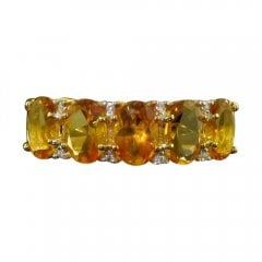9ct Gold Diamond and Golden Citrine Cluster Ring