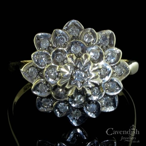 9ct Gold Diamond Flower Cluster Ring
