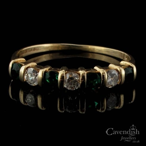 9ct Gold Emerald And Diamond Half Hoop Ring
