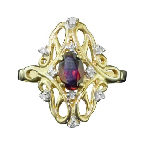 9ct Gold Garnet And Diamond Open Work Tablet Ring