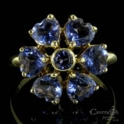9ct Gold Heart Cut Tanzanite Flower Cluster Ring
