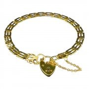 9ct Gold Heart Lock Gate Bracelet