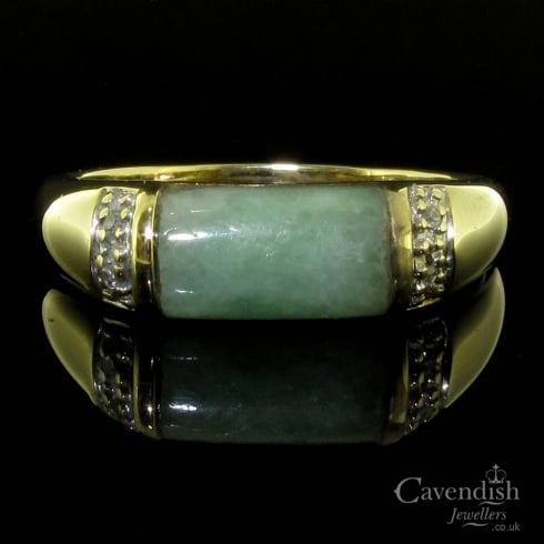 9ct Gold Jade And Diamond Ring