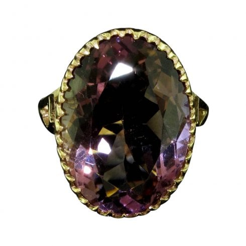 9ct Gold Oval Cut Ametrine Solitaire Ring