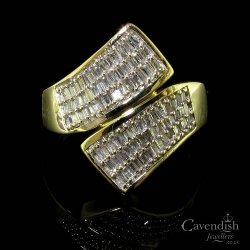 9ct Gold Pave Diamond Crossover Ring