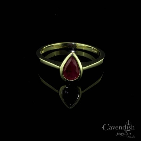 9ct Gold Pear Cut Ruby Ring