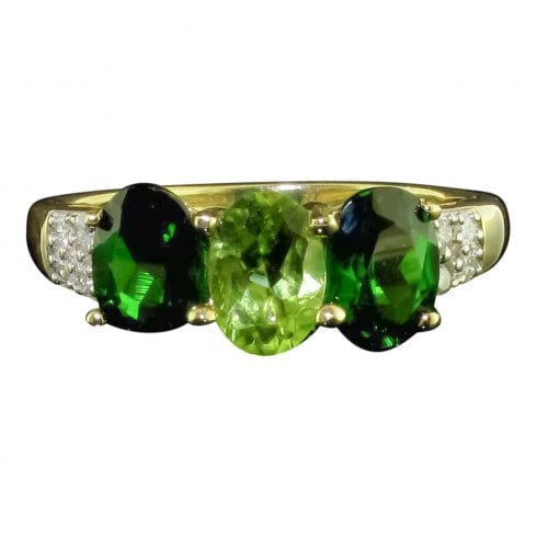 9ct Gold Peridot Diopside & Diamond Trilogy Ring