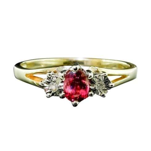 9ct Gold Pink Sapphire And Diamond Trilogy Ring