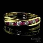 9ct Gold Ruby And Cubic Zirconia Crossover Ring