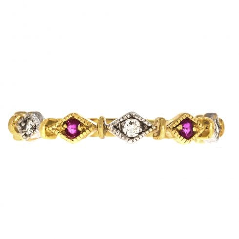 9ct Gold Ruby And Diamond Half Hoop Ring
