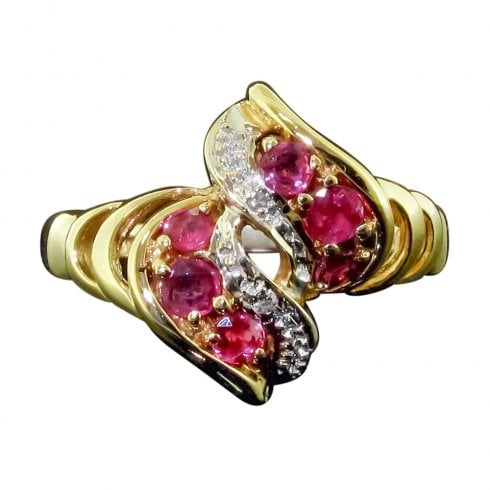9ct Gold Ruby & Diamond Twist Cluster Ring