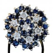 9ct Gold Sapphire & Diamond Flower Cluster Ring