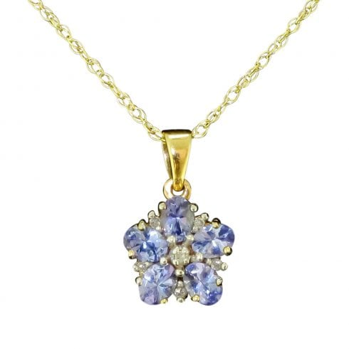 9ct Gold Tanzanite And Diamond Floral Pendant Necklace