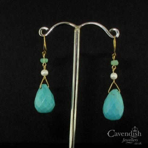 9ct Gold Turquoise Jade & Pearl Drop Earrings