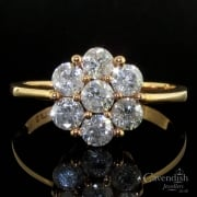 9ct Rose Gold Diamond Flower Cluster Ring