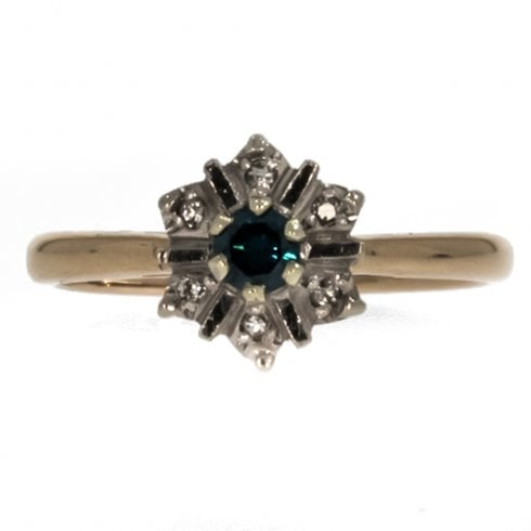 9ct Treated Blue Diamond Cluster Ring