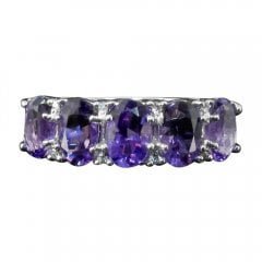 9ct White Gold Amethyst And Diamond Half Hoop Ring