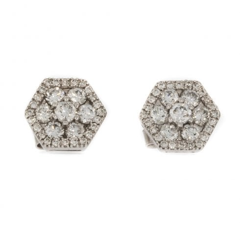 0fb88cda5 9ct White Gold And Diamond Hexagonal Cluster Earrings - from Cavendish  Jewellers Ltd UK