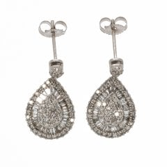 9ct White Gold And Diamond Pear Cluster Drop Earrings