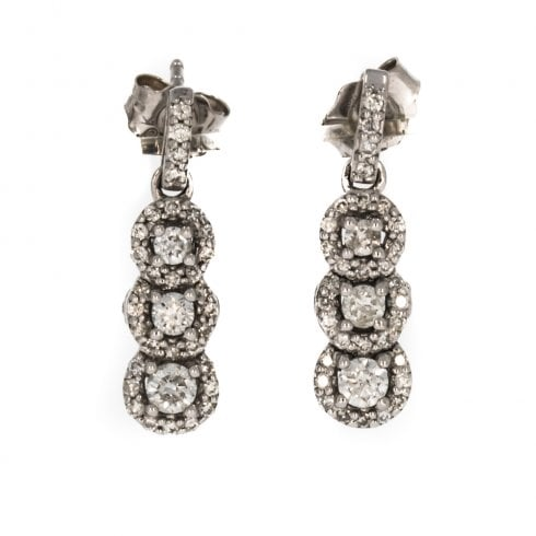 0cf539524 9ct White Gold And Diamond Triple Cluster Drop Earrings - from Cavendish  Jewellers Ltd UK