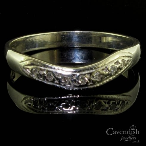 9ct White Gold Curved Diamond Wedding Band