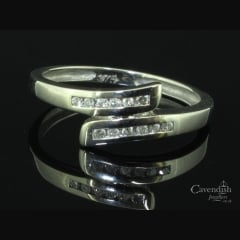 9ct White Gold & Diamond Crossover Ring