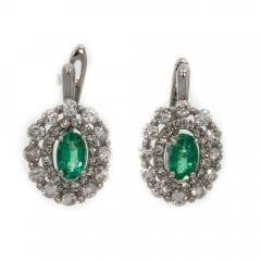 9ct White Gold Emerald And Diamond Cluster Earrings