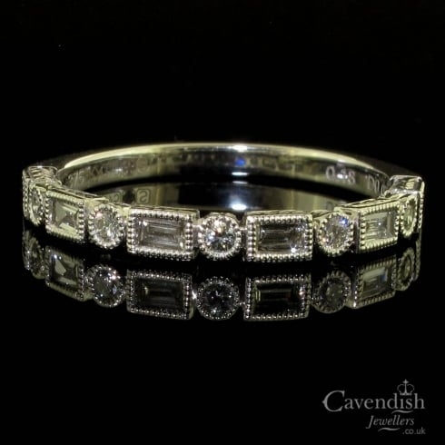 9ct White Gold Mixed Cut Diamond Half Hoop Ring