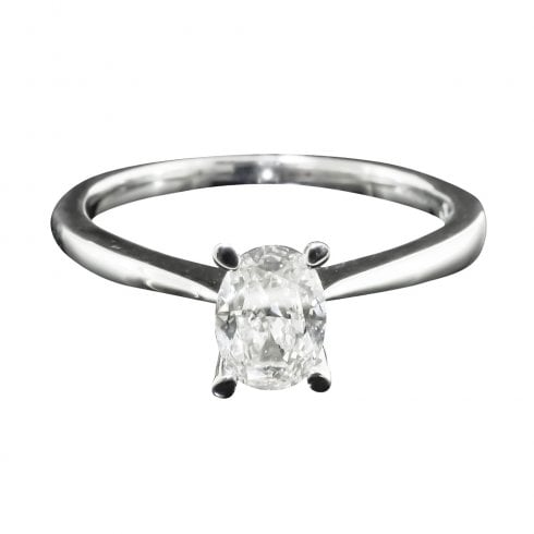 9ct White Gold Oval Cut Diamond Solitaire Ring