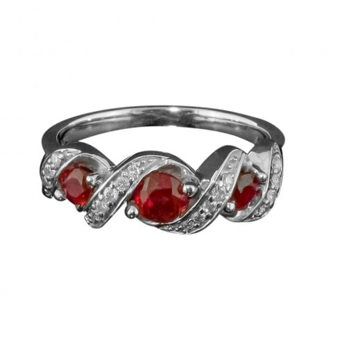 9ct White Gold Ruby and Diamond Twist Ring