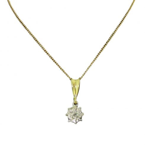9ct Yellow and White Gold Diamond Solitaire Pendant
