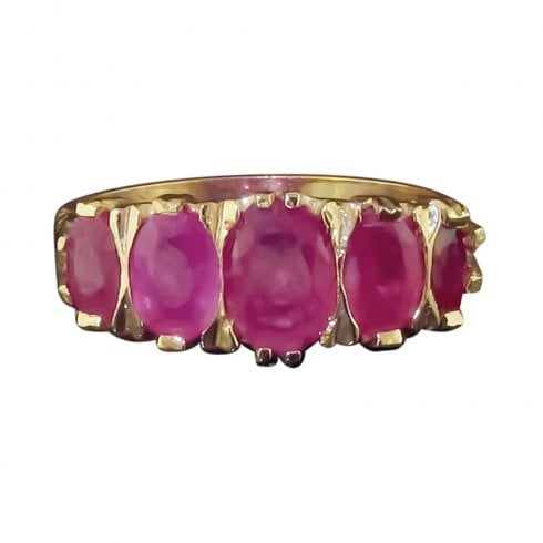 9ct Yellow Gold 5 Stone Ruby Ring