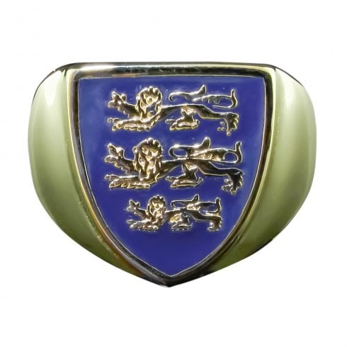 9ct Yellow Gold Blue Enamel England Crest Signet Ring