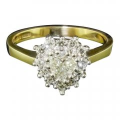 9ct Yellow Gold Heart Shaped Diamond Cluster Ring