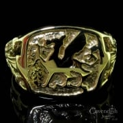 9ct Yellow Gold Welsh Dragon Signet Ring