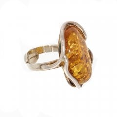 Abstract Cut Amber Ring