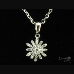 Adorable 18ct White Gold & Diamond Sunburst Pendant Necklace