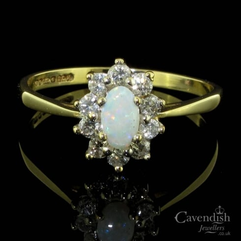 Adorable 9ct Gold, Opal And Diamond Vintage Cluster Ring