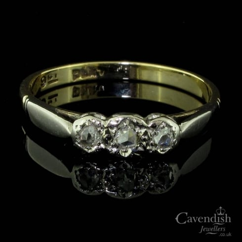 Adorable 9ct Gold, Platinum Set Rose Cut Diamond Trilogy Ring