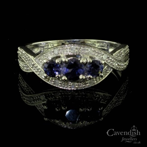 Adorable 9ct White Gold Iolite And Diamond Trilogy Ring