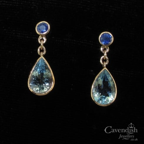 Adorable Aquamarine And Sapphire Drop Earrings