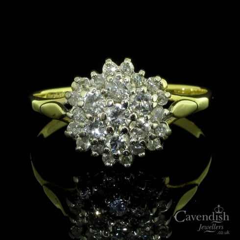 Amazing 18ct Gold And Diamond Cluster Ring