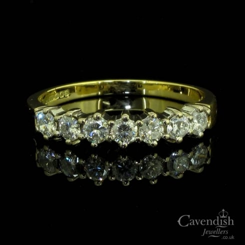 Amazing 18ct Gold And Diamond Half Hoop Ring