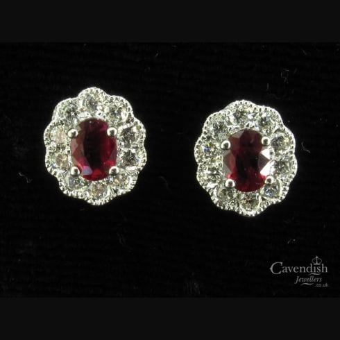 Amazing 18ct White Gold Ruby and Diamond Stud Earrings
