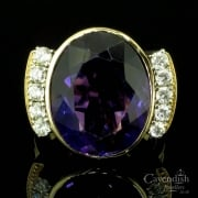 Amazing 1950s 14ct Gold Amethyst and Diamond Dress Ring